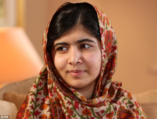 Courage: Malala, pictured on Panorama, miraculously survived being shot in the head in Pakistan a year ago