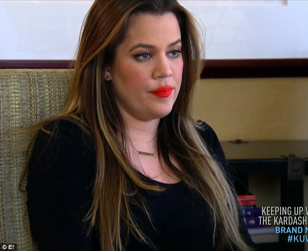 Visibly angry: Khloe Kardashian pursed her lips angrily every time estranged husband's Lamar Odom's name was mentioned on Sunday night's episode of Keeping Up With the Kardashians