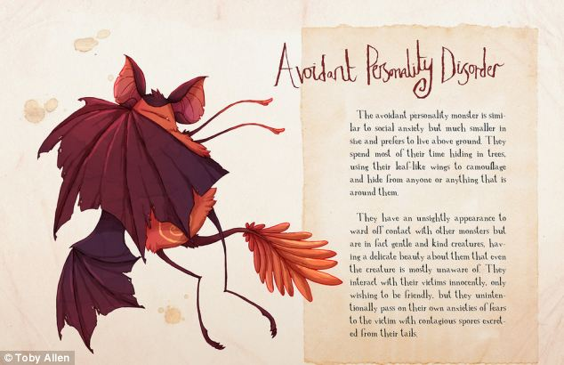 The Avoidant Personality Disorder monster is similar to the Social Anxiety monster except that it prefers to live above ground, mainly hiding in trees. Mr Allen designed this monster with leaf-like wings to act as camouflage so it can hide from people