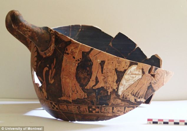 Archaeologists also unearthed this vessel called a 'krater' which was often used to mix water and wine