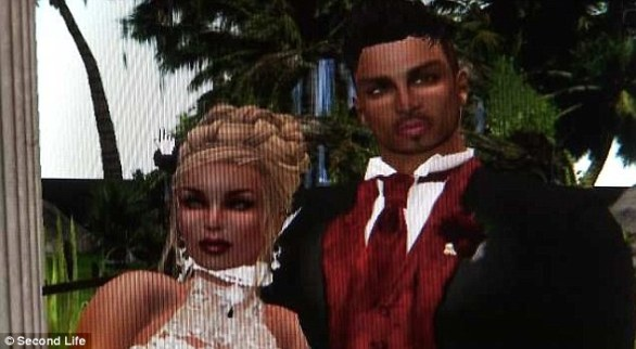 Alter-egos: In the online virtual world Second Life, Pester's blonde avatar (left) worked as a DJ, and the couple had a wedding
