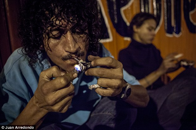 Addicts: Hugo, 33, is one of many drug users who gather in deserted warehouses to smoke crack