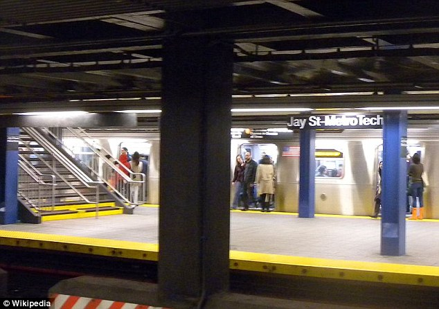 Lost and confused: The girl became dizzy and blacked out at the Jay St-MetroTech subway station in Brooklyn