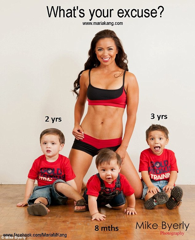 Source of controversy: Exercise-loving, mother-of-three, Maria Kang, posted this photograph to Facebook