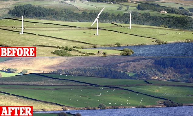 Chelker Reservoir, Addingham, Yorkshire - Chelker Reservoir wind turbines are dismantled