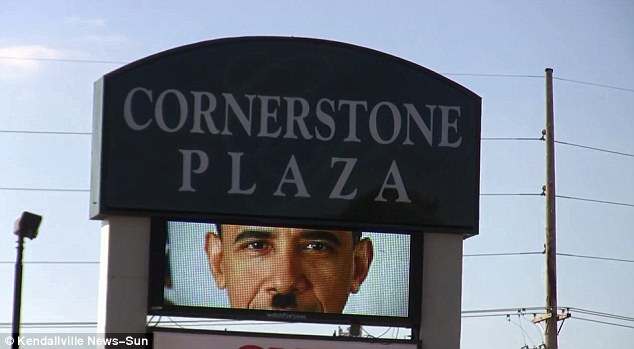 Controversial: This billboard has outraged many residents of the politically-conservative town of Kendallville
