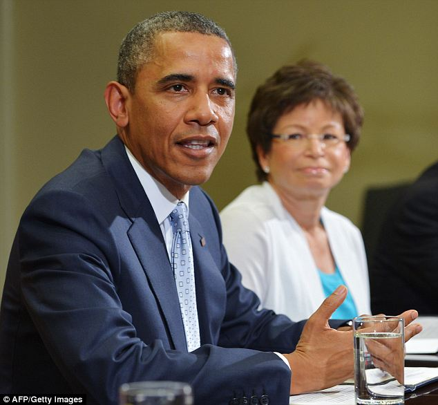 Game plan: Valerie Jarrett was reportedly the one who suggested President Obama refuse to negotiate with the Republicans in Congress, telling him to use words like 'hostage' and 'terrorist'