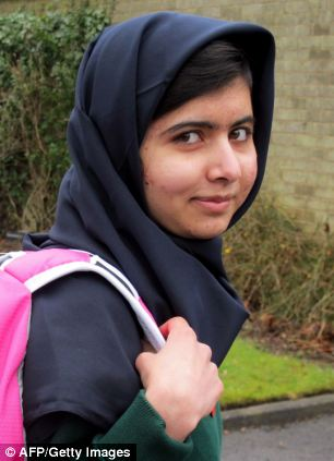Malala pictured before returning to school for the first time since she was shot in the head by the Taliban