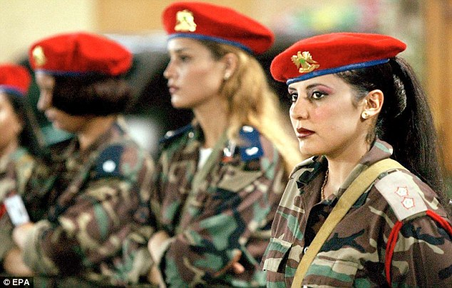Glamour: Some of Colonel Gaddafi's guards. Others were horribly attacked by the Libyan dictator