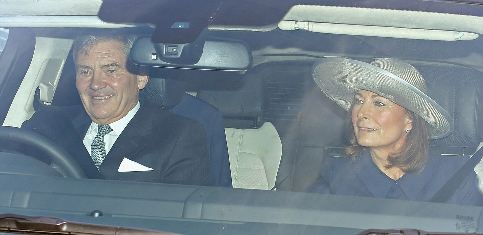 Grandparents: Michael and Carole Middleton seen arriving for the christening of Prince George at the central London palace