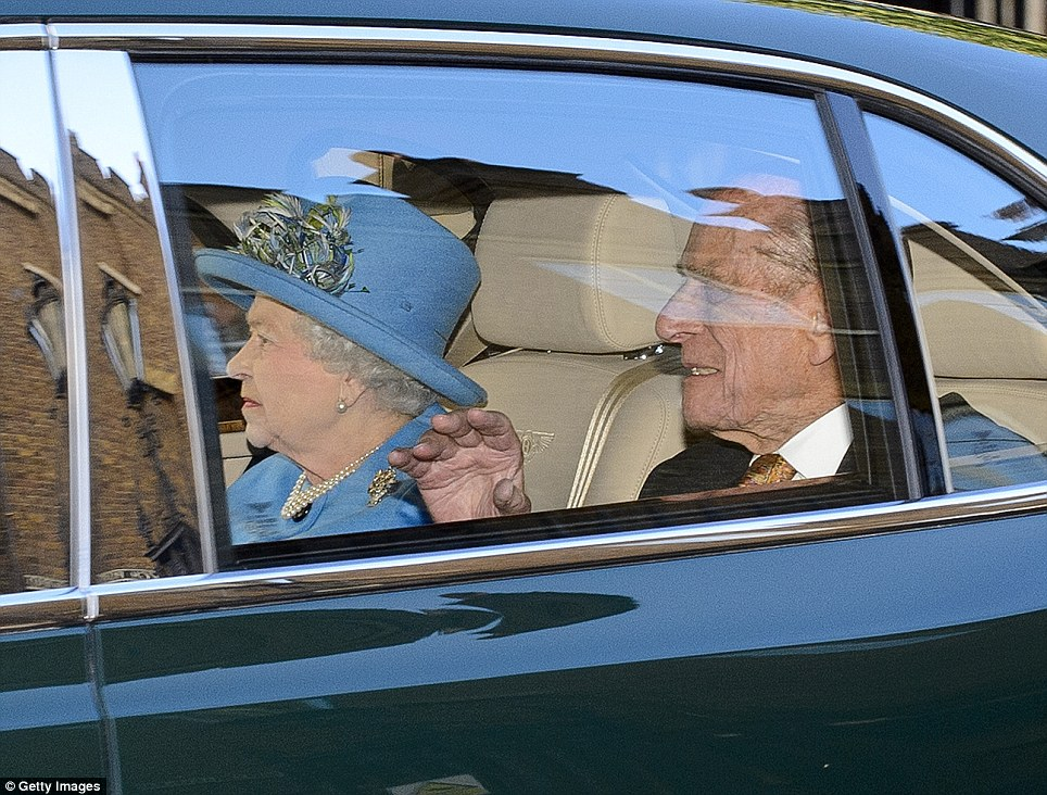 Prince George's great-grandmother, HM The Queen, arrived in a smart hat just before the baby's christening at St James's Palace this afternoon