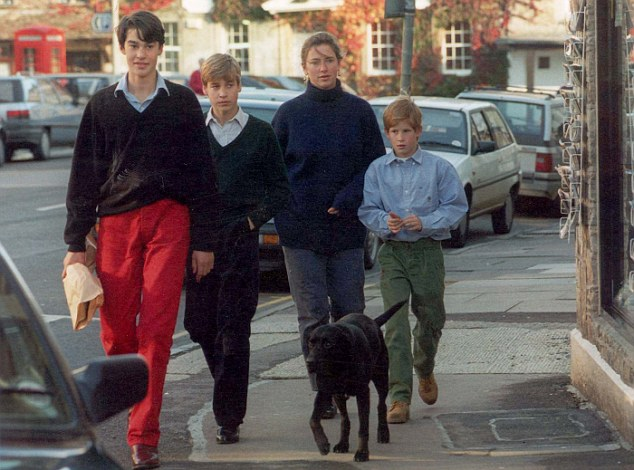 William, seen here in 1995 with the two princes and their former nanny Tiggy Legge Bourke is an old friend