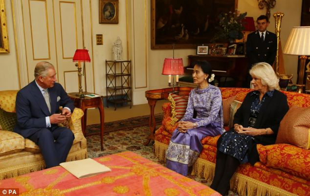 They spoke for about 45 minutes in the palace's Garden Room after Suu Kyi made a special request to see them
