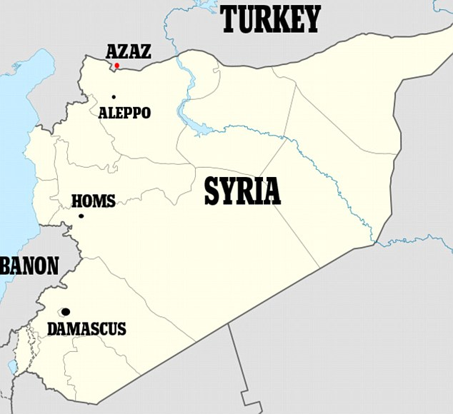 Target: Locator map of Syria showing Azaz which has been taken over by al-Qaeda terrorists