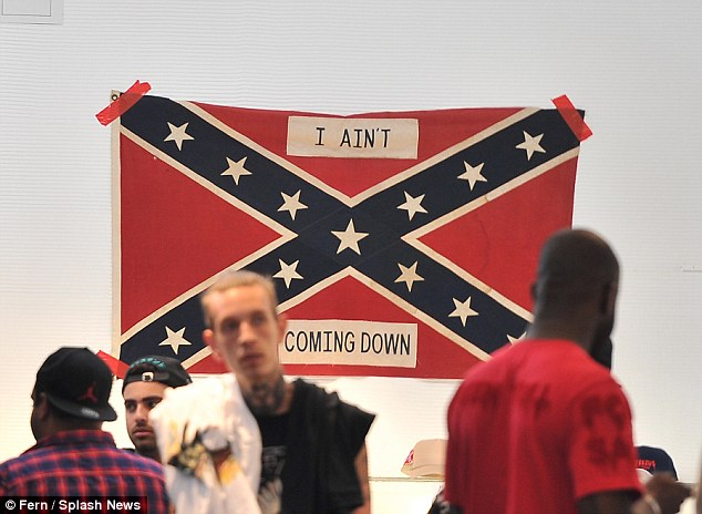 Bold move: A confederate flag is displayed on the wall of the pop-up store