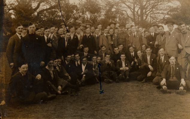 Pal's battalion: Harry (centre left, marked in blue ink) joined the Second Birmingham Battalion alongside friends from home. Most of them died by the end of the war