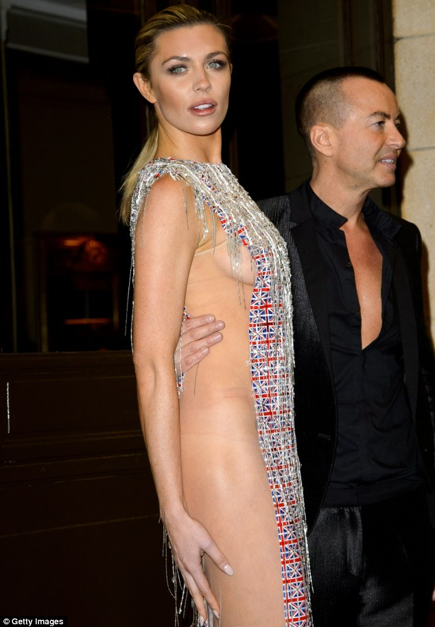 Brave choice: Abbey Clancy dared to bare in a sheer panelled number at the Fashion for the Brave event at The Dorchester on Friday