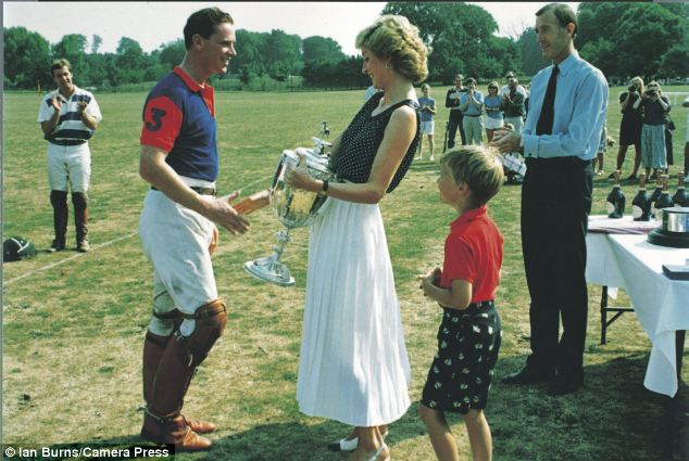 Better days: Hewitt, left, pictured with Princess Diana in 1989, as she presents him with a polo trophy after he led his army team to victory. Prince William, right, looks on.