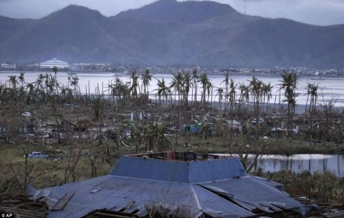 Damage: More ruined buildings in Tacloban city, Leyte, can be seen lining the coast of the devastated area