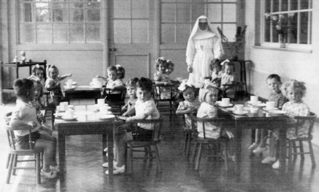 Convent life: Children born to unwed mothers at Sean Ross Abbey sit in the dining hall