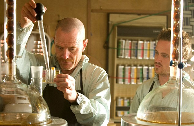Walter White and Jessie Pinkman, played by Bryan Cranston (left) and Aaron Paul (right) 'cook' crystal meth in the award-winning TV series Breaking Bad