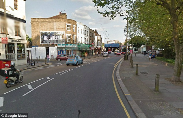 Terrifying: Officers chased the subject down Falcon Road in Battersea, south-west London