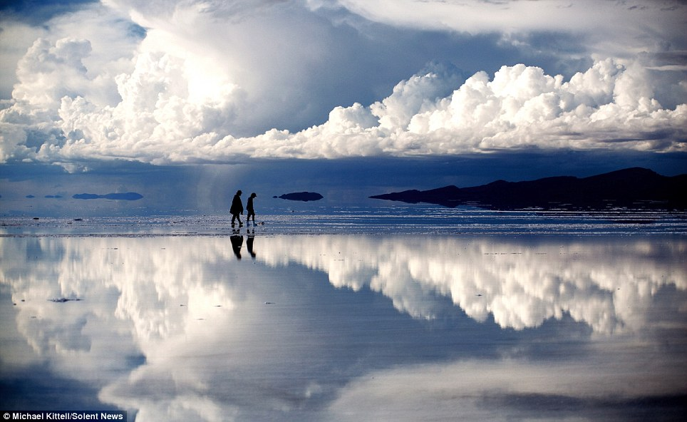 This image could be mistaken for an Arctic snow scene, but it was actually taken on salt flats in Bolivia