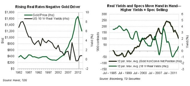 Trading trends: TD Securities illustrates how speculator expectations of what interest rates on 10-year US government bonds are likely to be in future influences the gold price