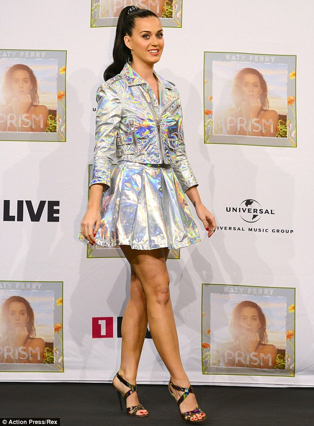 Katy Perry Wears Overly Shiny Foil Style Biker Jacket And