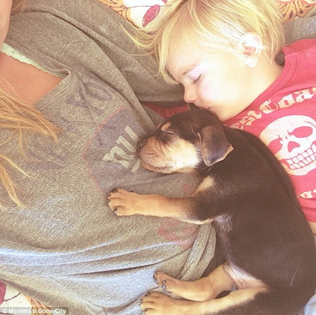 The first snooze: Theo started sleeping on his toddler-owner Beau when he accidentally fell asleep on the baby when he was being rocked for an afternoon nap one day