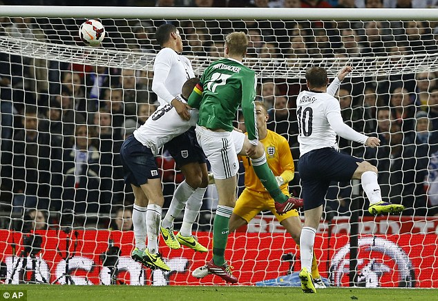 Decisive: Per Mertesacker headed Germany's winner against England at Wembley