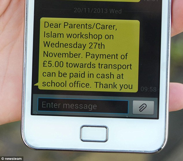 Parents were sent a text telling them to pay £5 towards transport for the trip to Staffordshire University