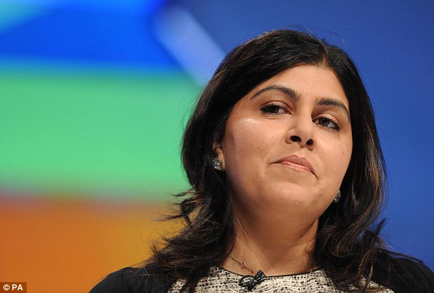 Condemnation: Baroness Warsi, the Foreign Office minister, has previously said the Conservatives lost three seats at the general election because of voter fraud in the Asian community