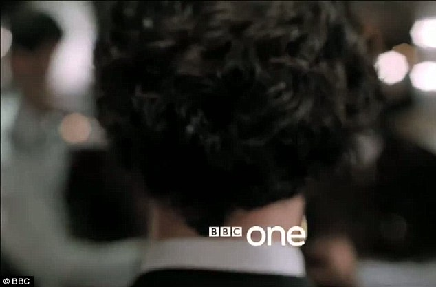 Here comes trouble: The back of Sherlock's head is seen as he strides confidently into an unknown building