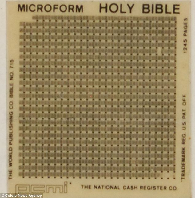 New technology: Microfilm meant that all 1245 pages and more than 773,000 words of the Bible could be reduced down to fit on a small piece of film