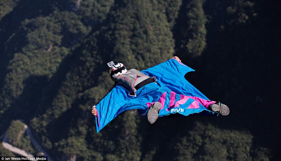 Miss Brennan showing her wingsuit flying skills in Zhangjiajie, China