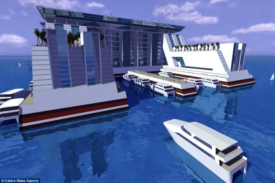 Visitors and residents would be able to leave the ship, either by plane or by boat thanks to a dock at the rear, concept pictured,