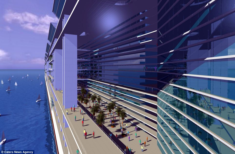 The Freedom Ship, concept pictured, is a mile long, 25 storeys high