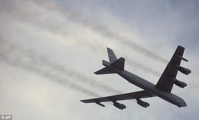 Stand-off: China last week scrambled fighter jets to monitor two unarmed U.S. bombers that flew over the East China Sea