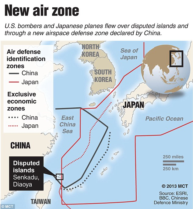 Flashpoint: Chinese and Japanese air defense and economic zones and locating the islands in the East China Sea that the two countries have been disputing