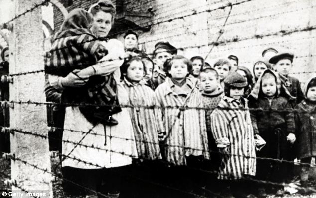 Desperate: These Jewish survivors, mostly children, were photographed when Auschwitz was liberated (file picture)
