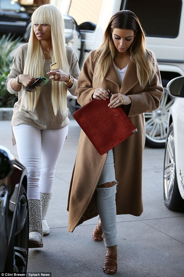 Double action: Kim and best pal Blac Chyna headed into the department store in Topanga Canyon together