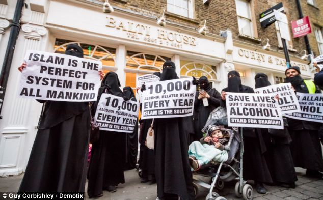 Around 60 Muslim campaigners gathered in Brick Lane, East London, yesterday to protest the sale of alcohol