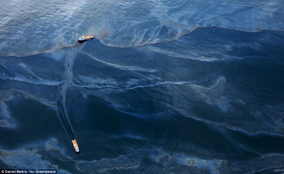 The spill sent 210m gallons of oil into the Gulf of Mexico, causing a black tide covering 68,000 square miles of ocean and spreading along 16,000 miles of coastline