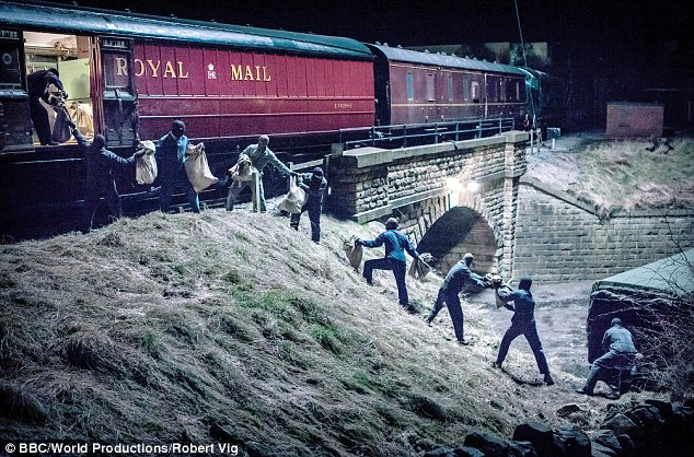 Reconstruction: A scene from a BBC drama on the Great Train Robbery which premieres tonight