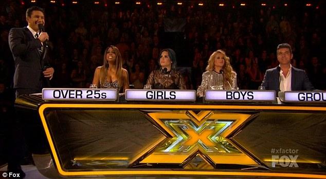 Season finale: The X Factor host Mario Lopez was joined by judges Kelly Rowland, Demi Lovato, Paullina Rubio and Simon Cowell