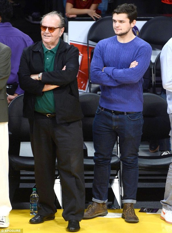 Like father like son: Jack Nicholson and son Raymond were seen watching the Lakers game on Christmas Day