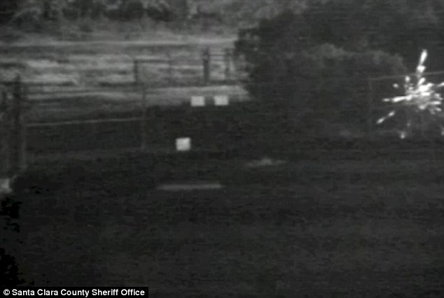 Sparks flew: The grainy footage shows several sparks, but not much else
