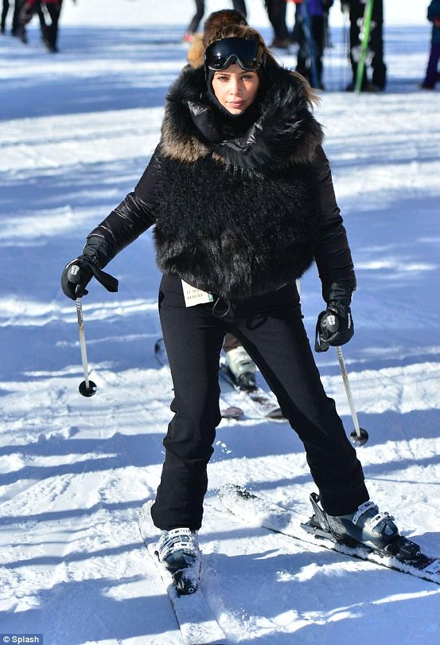 Hitting the slopes: Kim Kardashian wore faux fur on the slopes in Utah