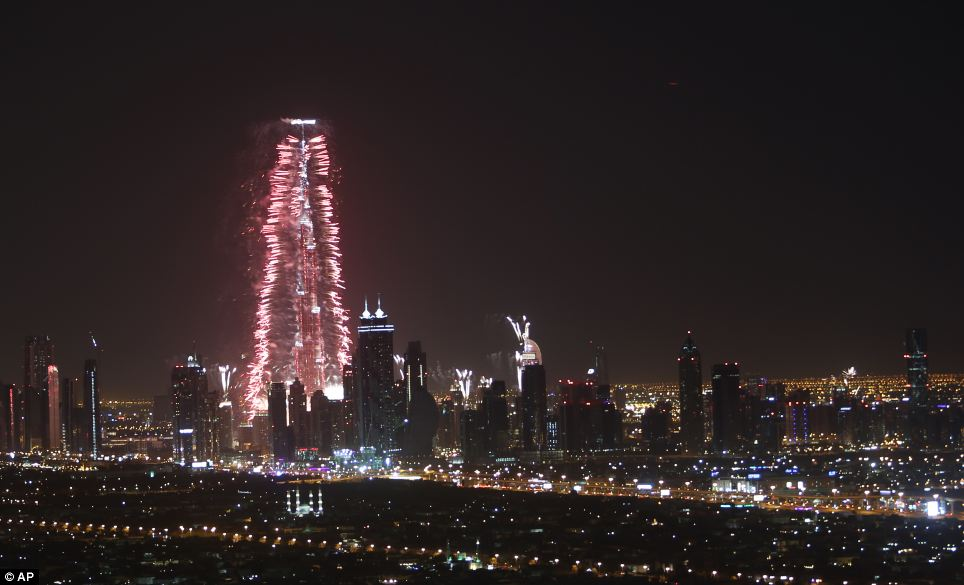 The glittering fireworks display that lasted around six minutes spanned over 100 kilometres (60 miles) of the Dubai coast